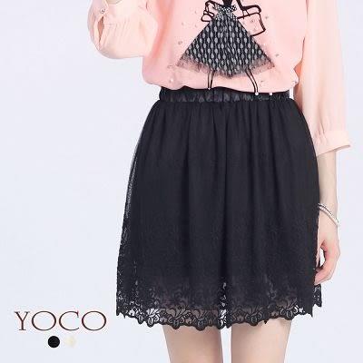 東京著衣【YOCO】花瓣滾邊蕾絲短紗裙-XS.S.M(6016884)