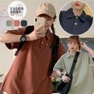 EASON SHOP(GQ0905)實拍簡約純色落肩寬鬆大尺碼寬版排釦POLO衫翻領短袖棉工裝T恤女上衣服打底內搭