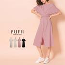限量現貨◆PUFII-洋裝 腰綁帶前開衩顯瘦長洋裝- 0528 現+預 夏【CP18647】