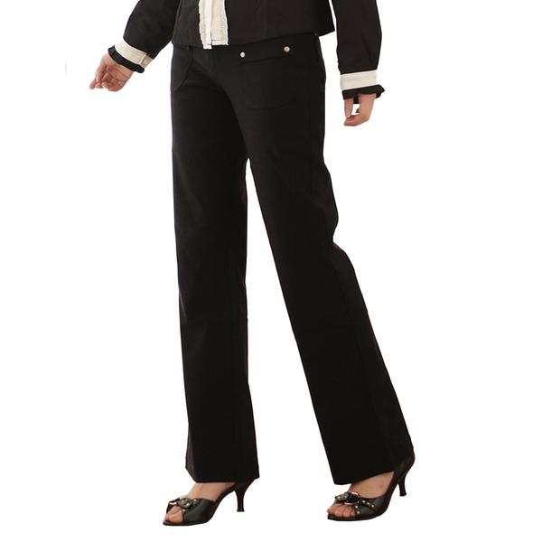 西裝褲--甜蜜愛戀的午茶時光-超彈性中腰素面銀扣直筒西裝褲(黑.咖S-7L)-P15眼圈熊中大尺碼