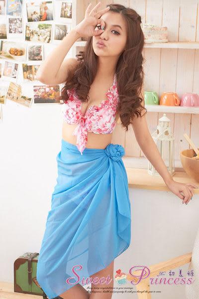 泳衣配件  扶桑花雪紡紗龍圍紗裙 -  繽紛夏艷(純藍) -沁甜美姬