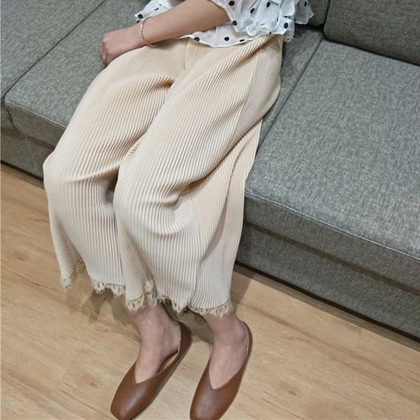 [超豐國際]夏季寬松壓褶拼接蕾絲花邊闊腿褲百搭顯瘦純色九分褲1入