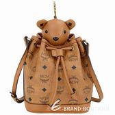 MCM Bear 棕色小熊玩偶造型束口水桶包(玩偶可拆當鑰匙圈使用) 1920537-B3