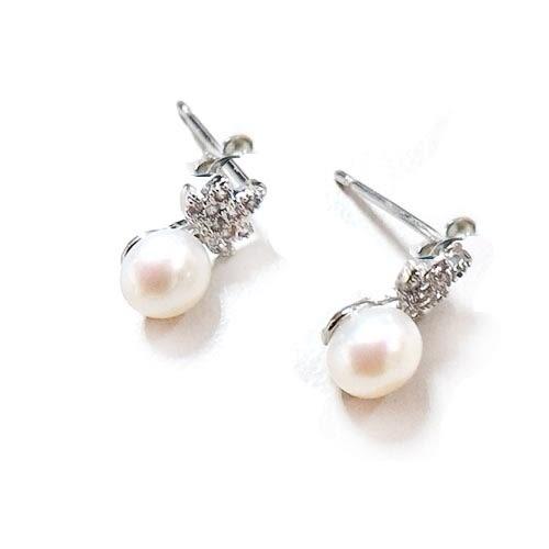 小楓葉天然珍珠耳環