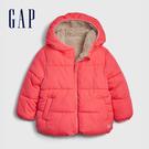 Gap女幼童 保暖仿羊羔絨絎縫拉鍊連帽外套 593213-粉色
