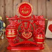【優選】結婚紅木色大號子孫桶套裝婚慶馬桶同心鎖
