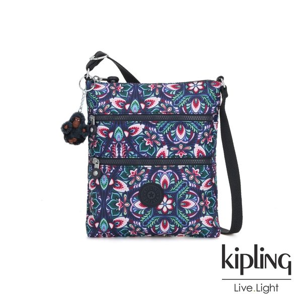 Kipling 熱帶萬花筒印花前袋雙拉鍊方型側背包-KEIKO