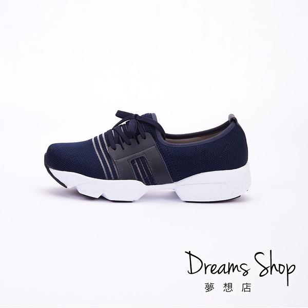 大尺碼女鞋 夢想店 MIT台灣製造簡約風透氣網布假綁帶休閒鞋3.5cm(41-45)【JD8108】藍色