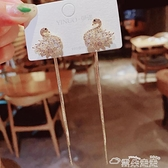 耳環S925銀針韓國微鑲鋯石天鵝超長流蘇氣質耳環女一款兩戴網紅耳釘 雲朵走走