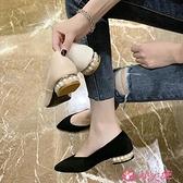尖頭低跟鞋 溫柔淑女珍珠單鞋女2021新款春秋百搭簡約尖頭低跟淺口粗跟鞋子女 小天使