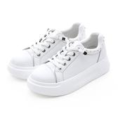 MICHELLE PARK 潮流 ‧ 小水鑽懶人鞋帶厚底休閒鞋-白