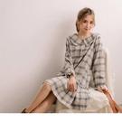 經典優雅的格紋領片設計 下襬拼接甜美的荷葉裙增添休閒活潑感