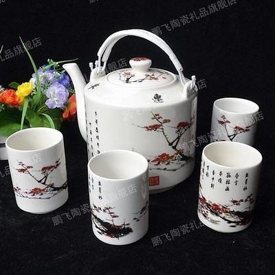 景德鎮 釉中彩 茶壺 陶瓷  梅花 2.2L (一套)
