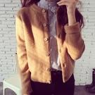 秋季新款女裝針織衫開衫韓版寬鬆外搭毛衣秋冬女士短款上衣外套 嬌糖小屋