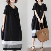 漂亮小媽咪 文藝洋裝 【D8871】短袖 撞色 拼接 長裙 寬鬆 洋裝 孕婦裝 連身裙