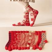新年紅色喜氣圖案大人中筒襪 襪子 大人襪 中筒襪 新年襪