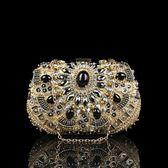 晚宴包-鏈條釘珠鑲鑽華麗橢圓女手拿包3色73rk32【時尚巴黎】