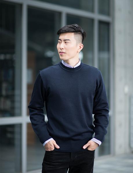 男士 針織毛衣 防縮 小圓領毛衣 純羊毛衣 三燕牌羊毛上衣 美麗諾羊毛 100%純羊毛 7977-1 圓領 丈青