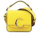 【CHLOE】Mini C Bag牛皮壓鱷魚紋手提/斜背兩用包(黃色) CHC19US193A87705