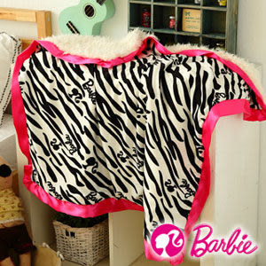 【Barbie】熱力斑馬系列-北極熊蜜絨毯《小件90x90cm《黑白》》