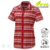 維特FIT 女款手插袋舒適版格紋襯衫 IS2203 寶石紅 排汗襯衫 格紋襯衫 防曬襯衫 OUTDOOR NICE