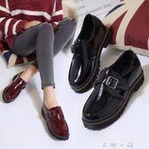 牛津鞋 小皮鞋女英倫學院風黑色平底圓頭漆皮學生復古平跟單鞋女鞋〖米娜小鋪〗