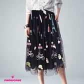 【SHOWCASE】唯美漫遊巴黎刺繡長紗裙(黑)