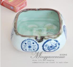 景德鎮陶瓷 煙灰缸 筆洗開片裂紋