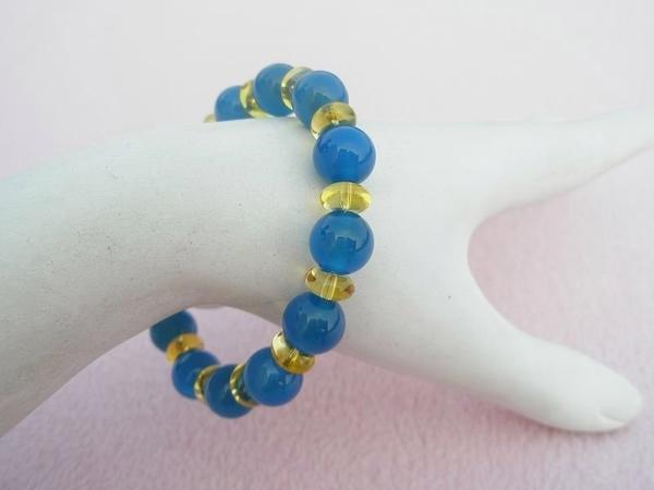 【歡喜心珠寶】【天然藍玉髓圓珠10mm加黃水晶圓扁珠4x8mm手鍊】各13顆「附保証書」