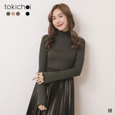 東京著衣-tokichoi-百搭人氣王多色木耳捲邊坑條內磨毛內搭上衣(191804)