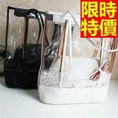 手提包-透明經典款防水可肩背女果凍包2色57a31【巴黎精品】