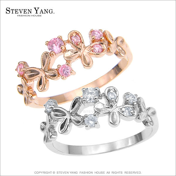 戒指 正白K飾「花蝶戲舞」 開運尾戒 鋯石 玫瑰金款 名媛淑女款