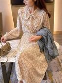 小清新雪紡碎花洋裝裙女收腰顯瘦中長款過膝長袖法式復古裙子