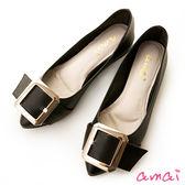 amai簡約金屬方釦尖頭平底鞋 黑