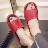 居家夏季防滑羊皮拖鞋室內家居木地板涼拖鞋男女真皮家用夏天拖鞋【卡米優品】