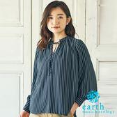 ❖ Autumn ❖ 2WAY正反兩穿荷葉綁帶領襯衫上衣 - earth music&ecology