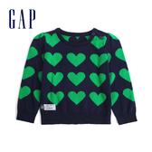 Gap女嬰兒 舒適心形圖案長袖針織衫 497700-海軍藍色