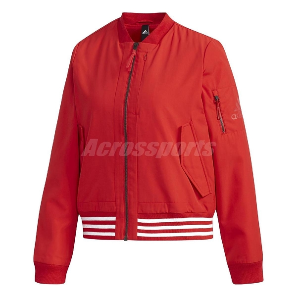 adidas 外套 WV 3S Bomber Woven Jacket 紅 白 女款 飛行外套 運動休閒 【PUMP306】 FI9270