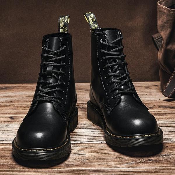 冬季馬丁靴男秋季英倫皮鞋男靴韓版工裝靴子高筒加絨棉鞋男鞋大碼 潮流衣舍