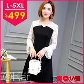 平口拼接蕾絲長袖洋裝 L-5XL O-Ker歐珂兒 159176-C