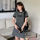 短袖洋裝 法式小眾短袖連身裙女裝春秋2021新款韓版氣質修身顯瘦T恤裙短裙 愛丫 免運