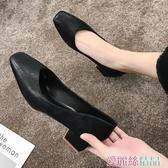 職業女鞋 時尚方頭高跟鞋女中跟百搭黑色工作職業5cm粗跟單鞋女鞋 愛麗絲