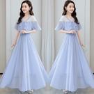 甜美雪紡洋裝 2021年新款夏季復古洋氣質長裙子女大擺 短袖收腰顯瘦高雪紡連身裙