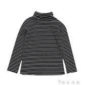 兒童條紋打底衫春秋男女童T恤長袖寶寶條紋高領打底衫 薔薇時尚