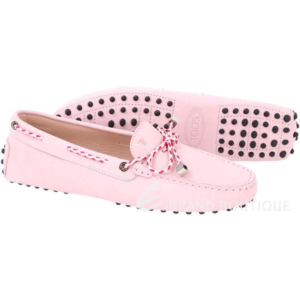TOD'S Gommino Driving 撞色編織綁帶豆豆休閒鞋(粉色) 1610066-05