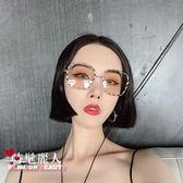 夏季復古男女歐美風氣質長方形框墨鏡麻花潮人網紅太陽鏡 全店88折特惠