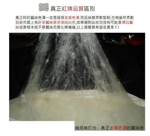 《100%(長纖)桑蠶絲被》360T柔軟純棉布【標準單人:4.5X6.5】紅牌蠶絲