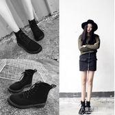 chic馬丁靴女夏季短靴英倫風黑色高筒繫帶平底街拍女鞋 【東京衣秀】