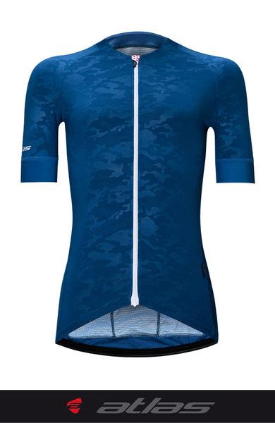 【亞特力士ATLAS】 男短袖車衣-冷黑 30℃~38℃ JF-121-BU 炫光迷彩藍