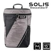 【南紡購物中心】SOLIS【星燦銀系列】桶型電腦後背包